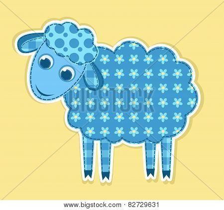 Cute Vector Patchwork Sheep