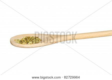 Fennel Seeds On A Light Wooden Spoon