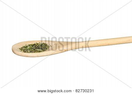 Rosemary On A Light Wooden Spoon