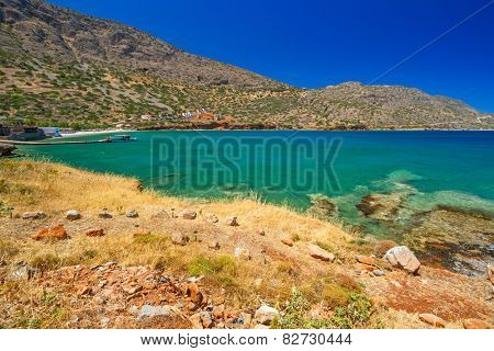 Turquise water of Mirabello bay on Crete, Greece