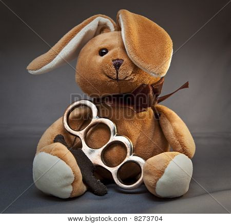 Brass Knuckle Teddy Bear
