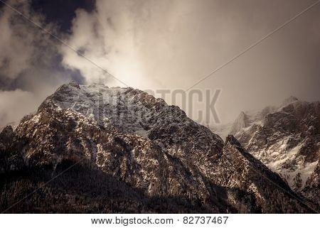 Winter Landscape In Carpathians Mountains. Transylvania, Romania
