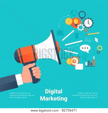 Hand Holding Megaphone With Cloud Of Colorful Application Icons On Media Theme. Digital Marketing Co