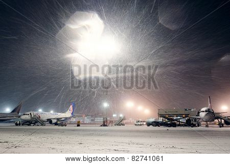 Moscow, Russia, February, 09,2015: airport and planes at non-flying weather, winter time
