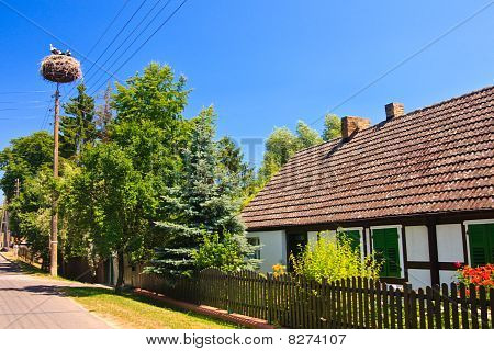 Village with a nest with storks in Germany poster