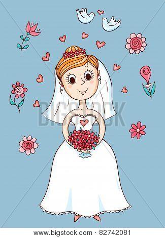 Happy Cute Bride