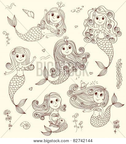 Doodle Mermaids Set.