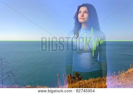 Art concept: double exposure girl on sea background showing that a woman is the impulse of nature poster