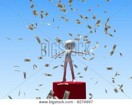 winning man under falling money