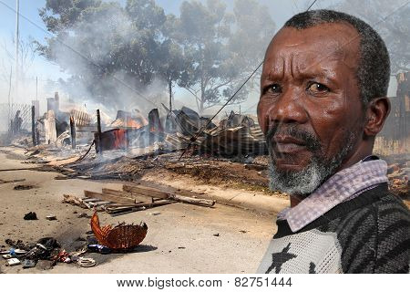 Man At Fire Disaster