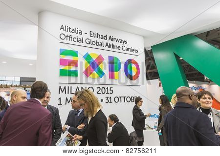 Alitalia Stand With Expo Logo At Bit 2015, International Tourism Exchange In Milan, Italy