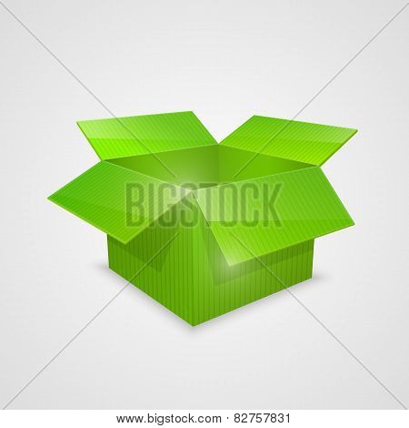 Color vector open box. green