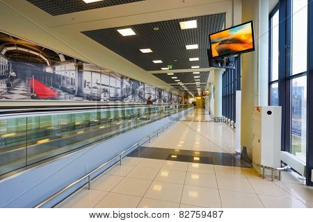 MOSCOW, RUSSIA - OCT 12: Sheremetyevo airport interior on October 12, 2014. Sheremetyevo International Airport is one of the three major airports that serve Moscow