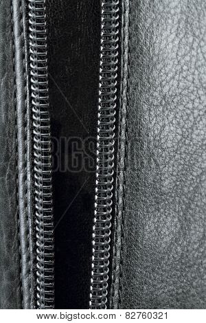 Zipper On The  Leather