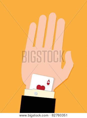 A man in a suit with a card up his sleeve. A metaphor on business success. poster