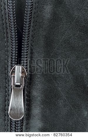 Zipper On The  Suede Leather