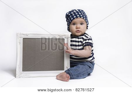 Cute Baby Holding A Blank Framed Sign