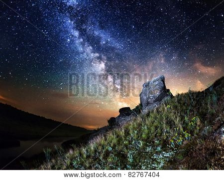 Summer night. Milky Way in (Granitnoe, Ukraine) poster