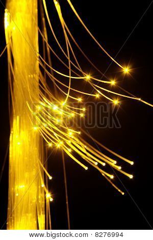 Optical fibers with yellow light