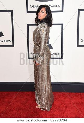 LOS ANGELES - FEB 08:  Kim Kardashian arrives to the Grammy Awards 2015  on February 8, 2015 in Los Angeles, CA