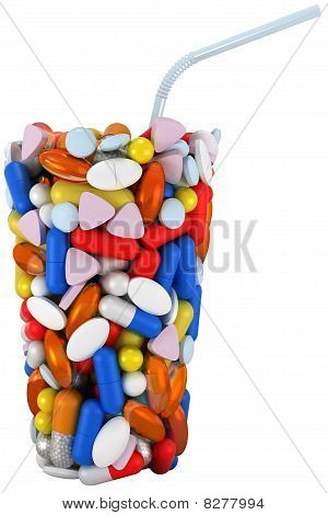 Glass Shape Assembled Of Pills With Straw