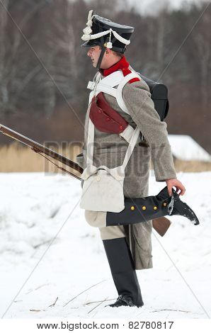 Russian Soldier Clean A Jackboot