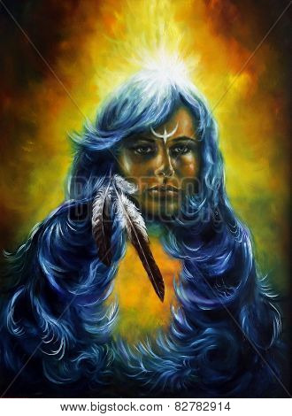 A beautiful oil painting on canvas of a woman fairy goddess with a feather of wisdom and a star of enlightment poster