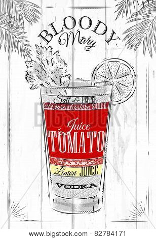 Bloody mary cocktail in vintage style stylized painted on wooden boards poster