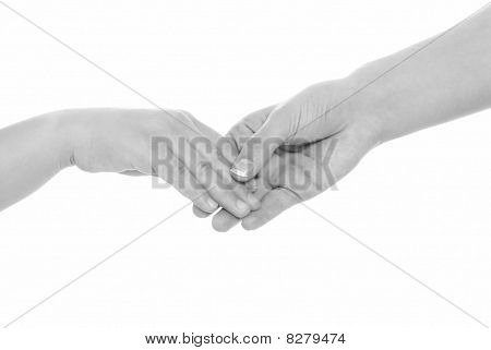 Young Woman And Girl Handshake