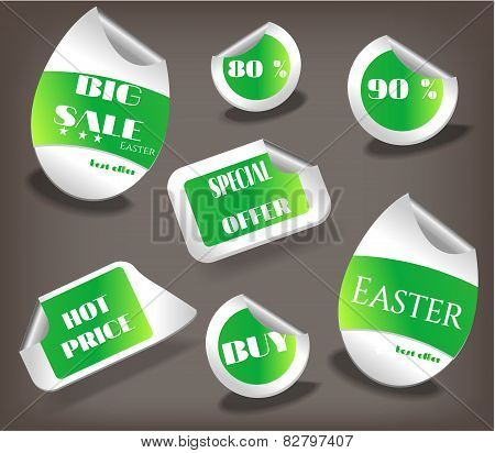 Set of Easter labels with text - Easter, Hot Price, Special Offer, Big Sale