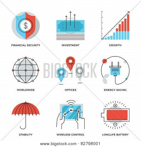 Global Business Elements Line Icons Set