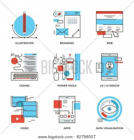 Graphic Design And Web Development Line Icons Set