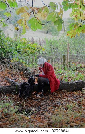 Girl playing with dog in the autumnal woods