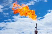 Oil torch against the sky. Gas flaring. poster