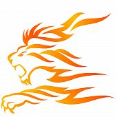Fierce flame lion roaring on white background poster