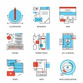 Thin line icons of creative graphic design branding identity mobile apps develop UI UX user interface website coding. Modern flat line design element vector collection logo illustration concept. poster