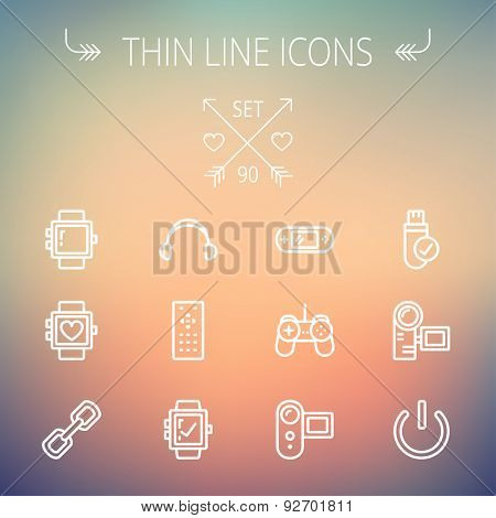 Technology thin line icon set for web and mobile. Set includes -video game, joystick, digital cam, power button, remote control, digital watch, USB. Modern minimalistic flat design. Vector white icon