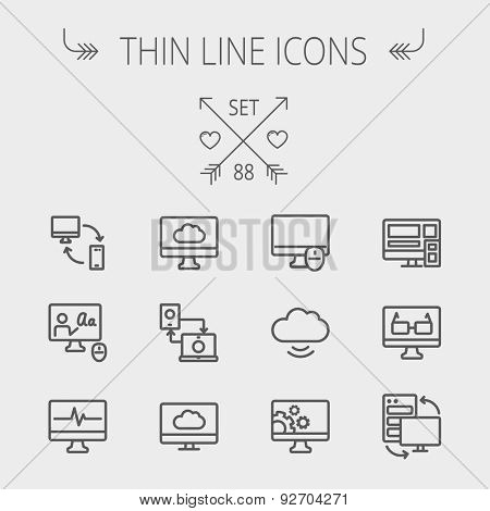Technology thin line icon set for web and mobile. Set includes - monitors, smartphone, cloud, mouse, wifi, gear, speaker. Modern minimalistic flat design. Vector dark grey icon on light grey