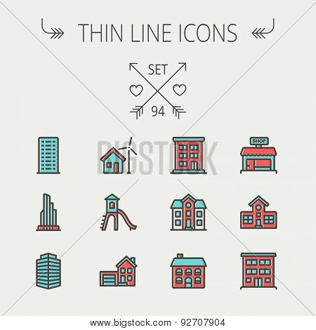 Construction thin line icon set for web and mobile. Set includes -house, playhouse, house with garage, buildings, shop store. Modern minimalistic flat design. Vector icon with dark grey outline and