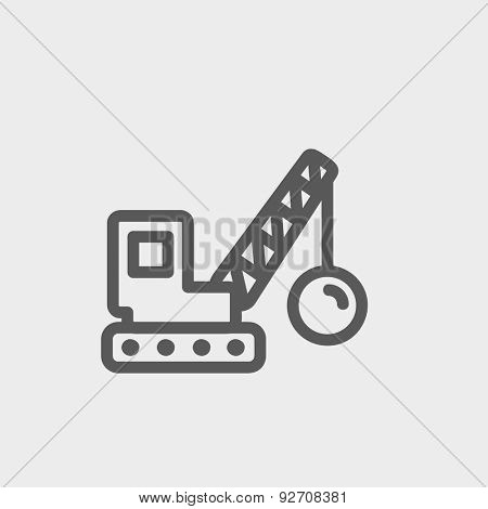 Demolition trailer icon thin line for web and mobile, modern minimalistic flat design. Vector dark grey icon on light grey background.