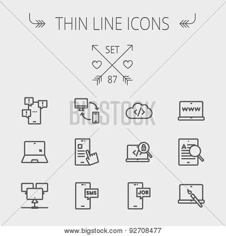 Technology thin line icon set for web and mobile. Set includes -laptop, monitor, smartphones, magnifying glass. Modern minimalistic flat design. Vector dark grey icon on light grey background
