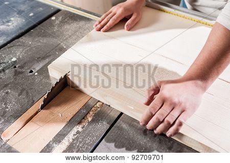 Carpenter hands working