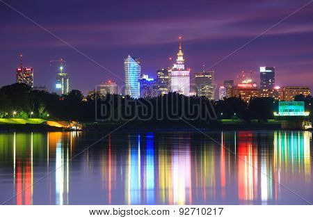 Warsaw Night View Of The City From The River