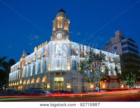 Facade Of Aya Bank Building At Night