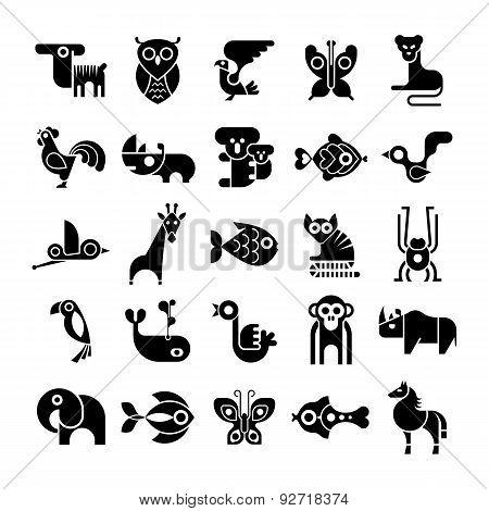Black And White Animal Vector Clip Arts