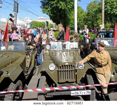 Jeep Gaz-67 And Man In The Uniform Of Polish Army Of Wwii