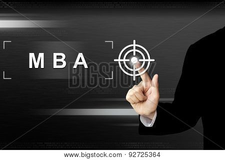 Business Hand Pushing Mba Or Master Of Business Administration Button On Touch Screen