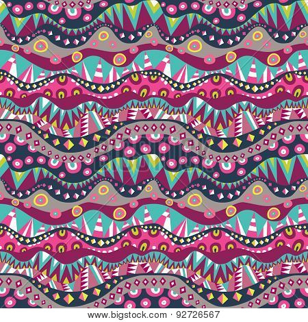 Textile Seamless Background With Aboriginal Pattern Vintage Colors