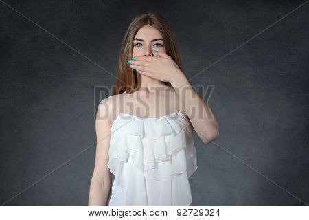 Secrecy, Reluctance, Indifference Concept. Woman Closed Her Mouth With Her Hands