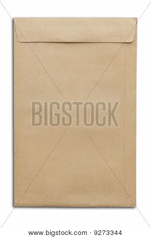 Brown Envelop As White Isolate Background